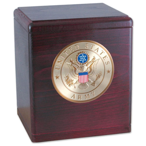 Rosewood Urn with Military Service Emblem
