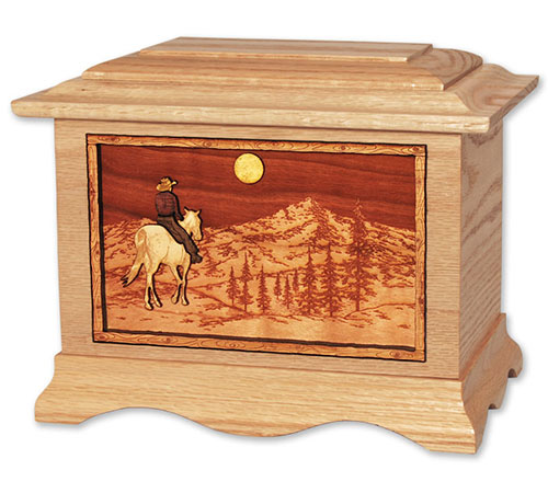 Solid Wood Cremation Urn for Cowboy