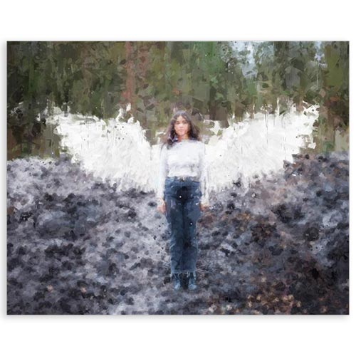 Memorial Painting with Angel Wings