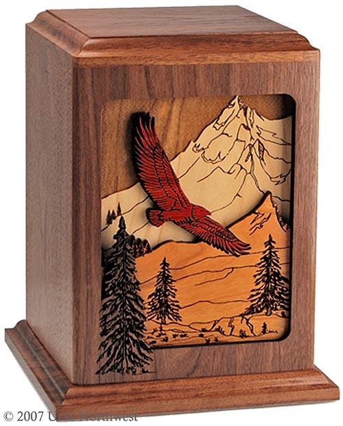 Layered wood urns