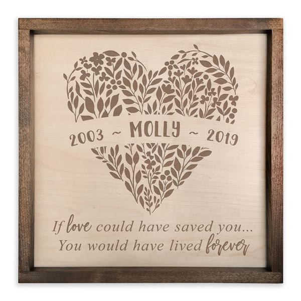 Wooden Plaque with Memorial Quote