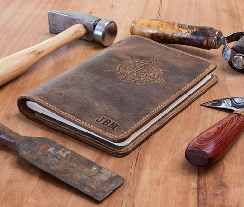 Custom engraved leather journal