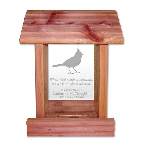 Custom-engraved sympathy bird feeder