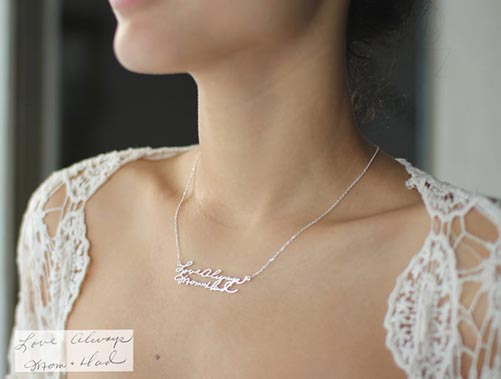 Jewelry featuring loved one's handwriting