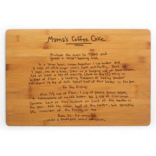 Bamboo wood cutting board with handwriting