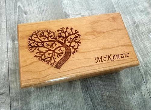 Custom engraved electric music box