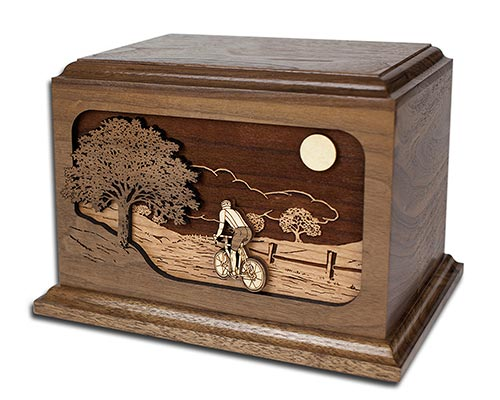 3D inlay art urn with bicycle theme