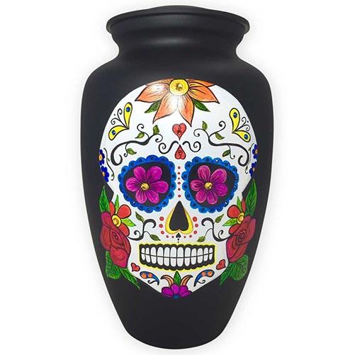 Sugar skull themed cremation urn