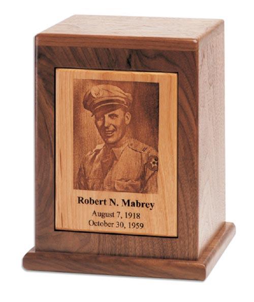 Laser engraved wood photo urn
