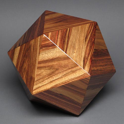 Contemporary style wood cremation urn