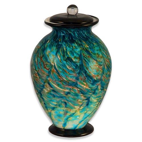 Glass cremation urn in Amato Aegean