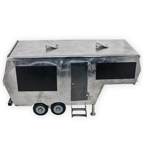 Metal camper cremation urn