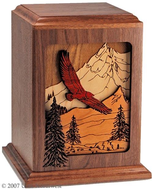 Wood eagle cremation urn