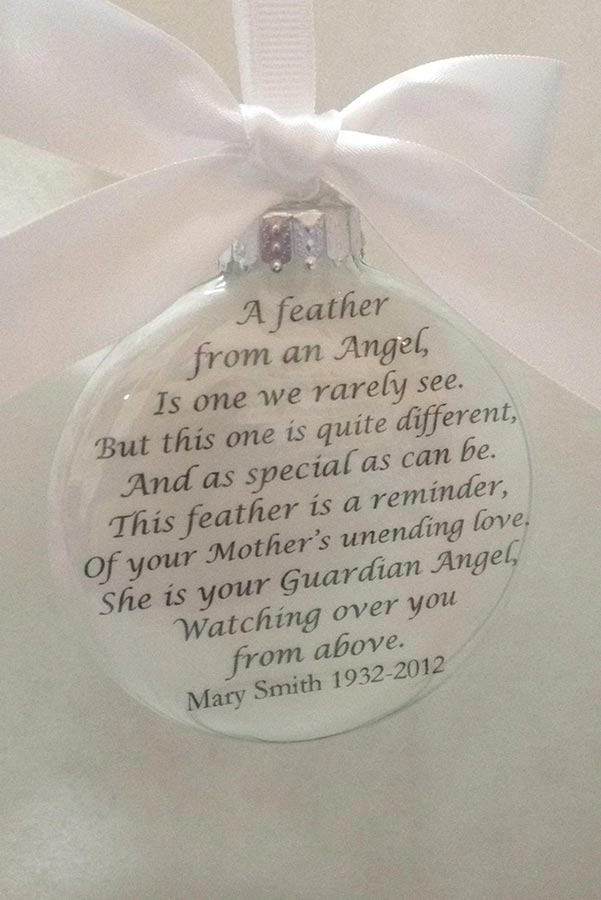 Memorial Ornament Filled with Angel Feathers