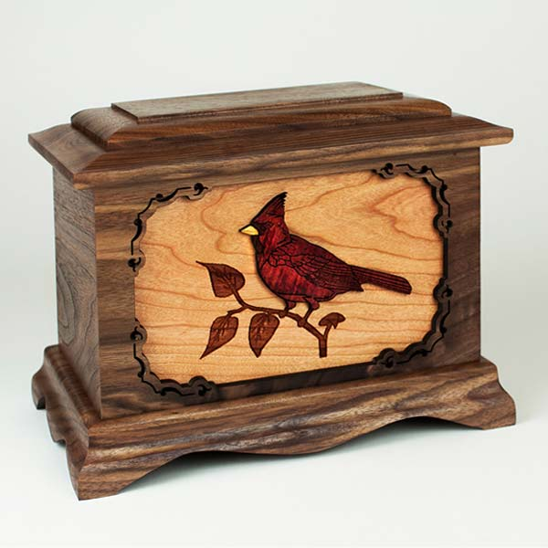 Cardinal Inlay Art Cremation Urn