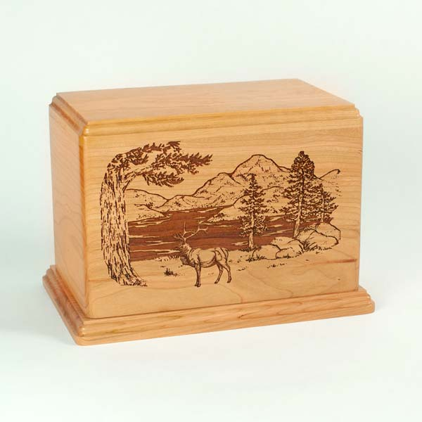 Elk Cremation Urn in Cherry Wood