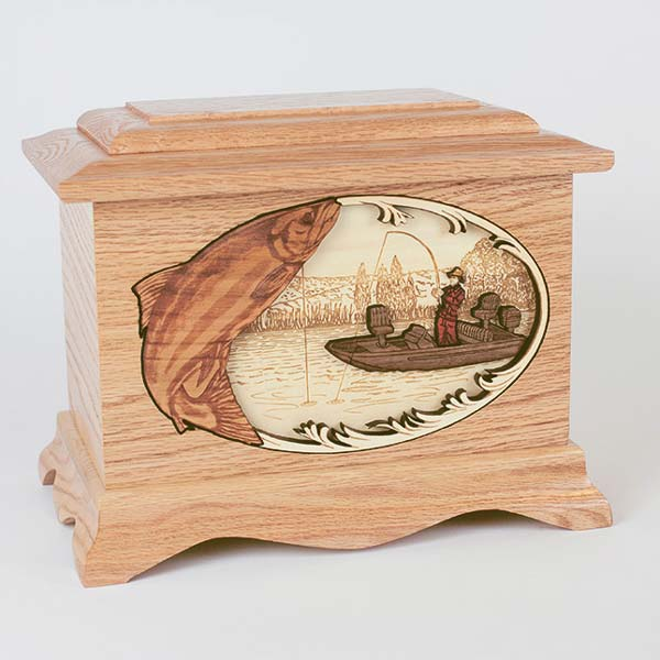 Oak Wood Fishing Urn