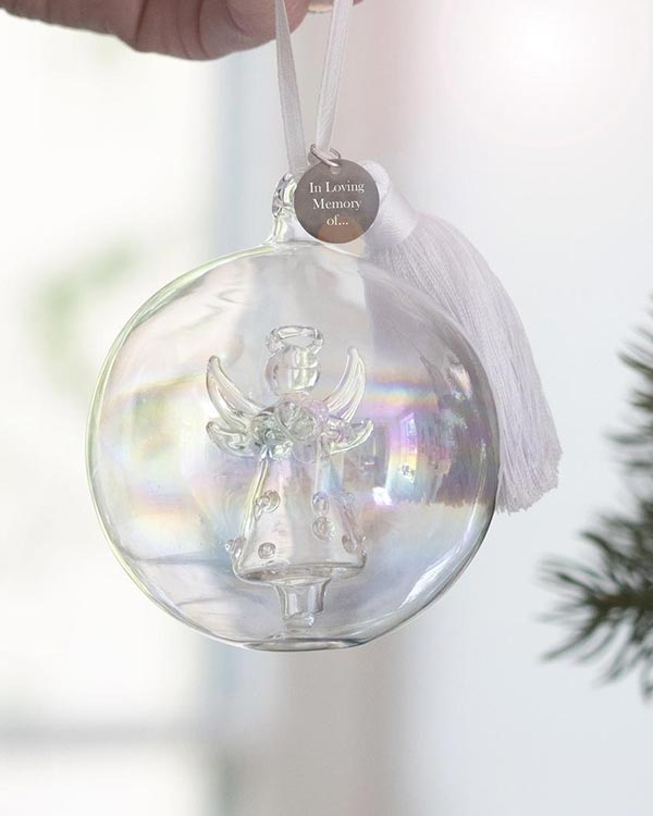 Memorial Glass Angel Bauble