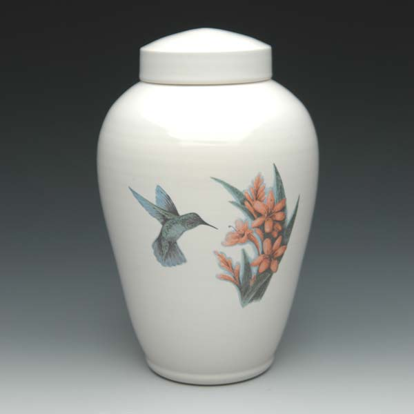Ceramic Urn with Hummingbird
