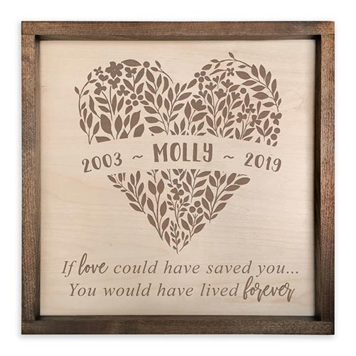 Wood engraved memorial plaque