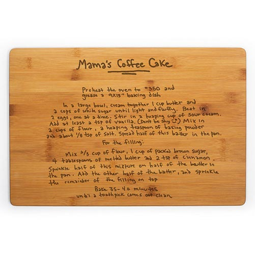 Bamboo wood cutting board with engraved recipe