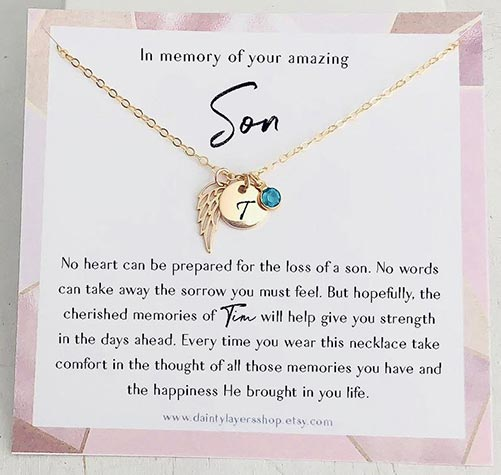 Memorial necklace with initial charm