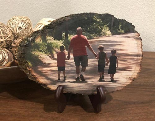 Full color photo printed on basswood