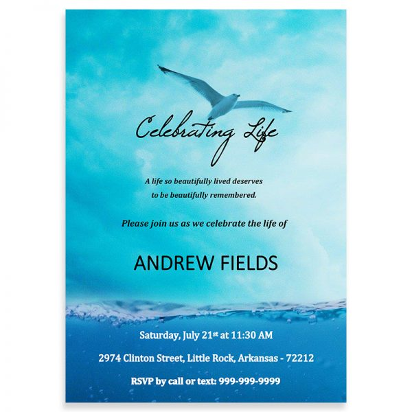 Funeral Invitation Template, Soaring Seagull Themed (Free MS Word)
