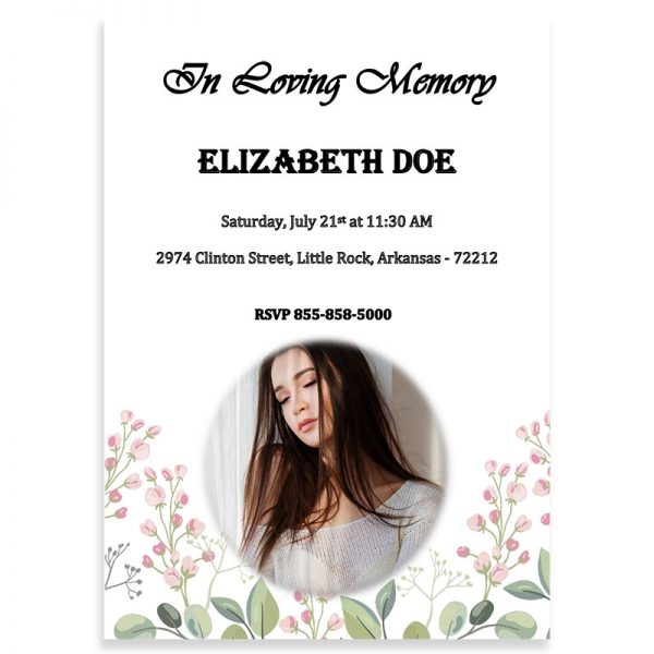 Funeral Invitation Template, Blossoms Themed (Free MS Word)