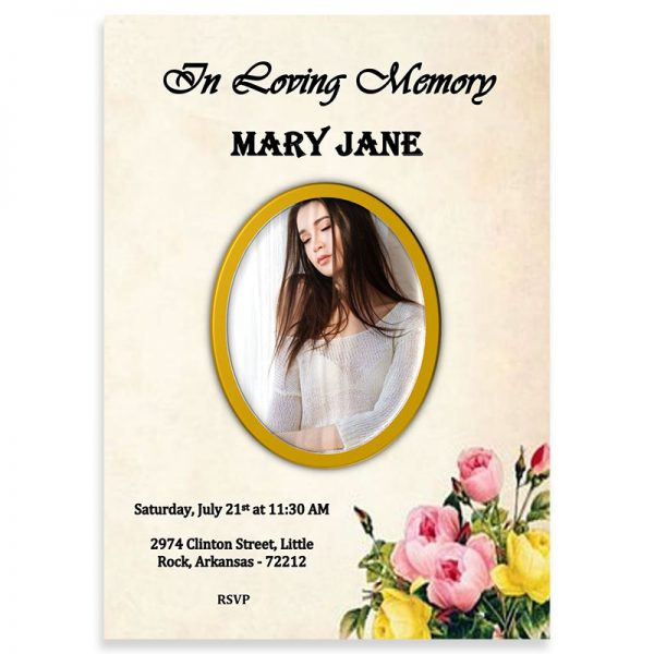 Funeral Invitation Template, Picture Frame Bouquet Themed (Free MS Word)