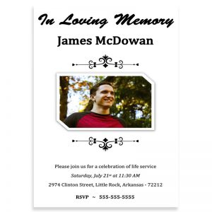 Funeral Invitation Template, Simple Ornamentation Themed (Free MS Word)
