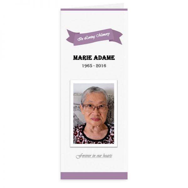 Free Word Template Vertical Funeral Program Purple Banner Theme
