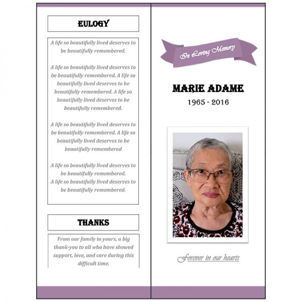 Vertical Front and Back Page (Funeral Flyer Bifold)