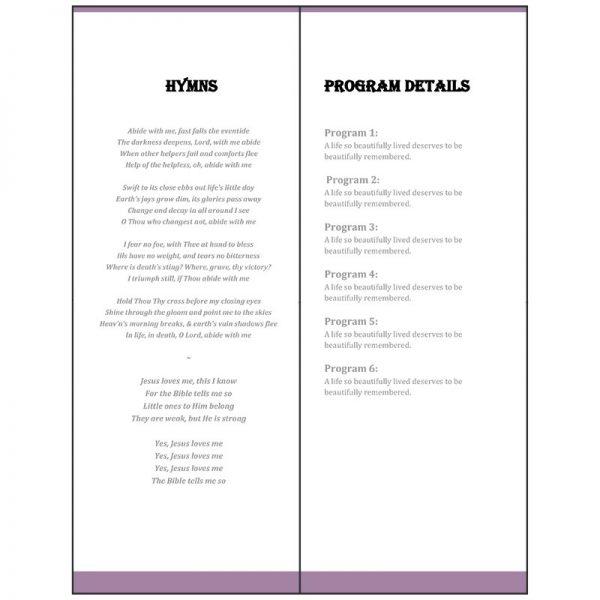 Vertical Funeral Program - Inside (Purple Banner)