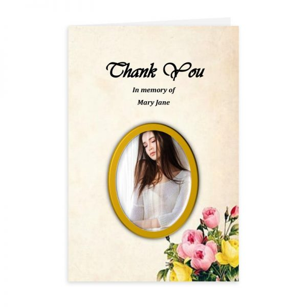 Free Word Template Thank You Card Picture Frame Bouquet Theme