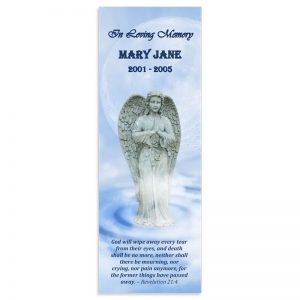 Memorial Bookmark Template, Angel Themed (Free MS Word)