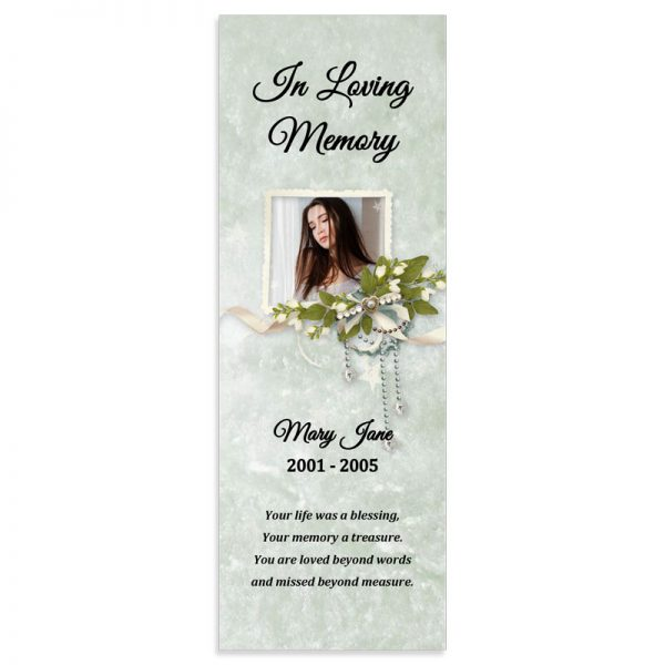 Memorial Bookmark Template, Floral Themed (Free MS Word)