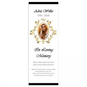 Memorial Bookmark Template, Oval Picture Frame Themed (Free MS Word)
