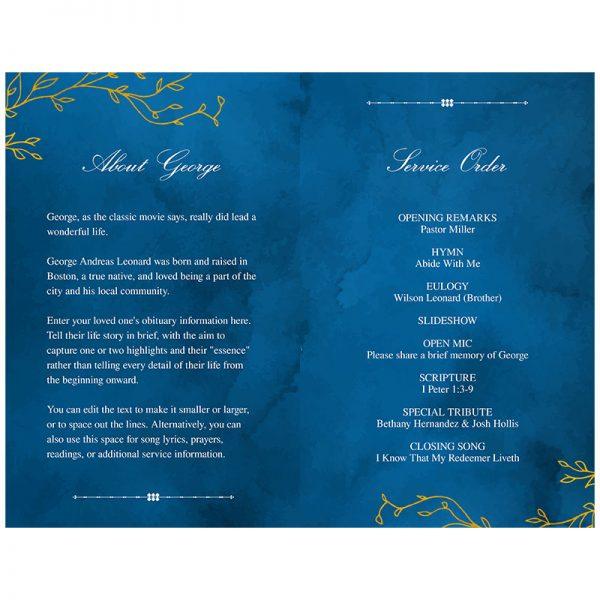 Blue & Gold Funeral Program Template (inside)