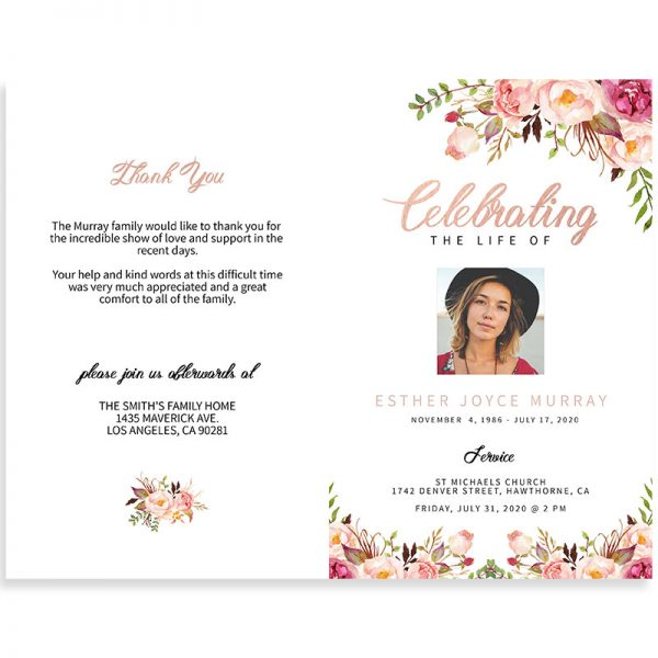 Bright pink and red flowered funeral program
