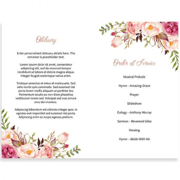 Gentle Florals Funeral Program Template
