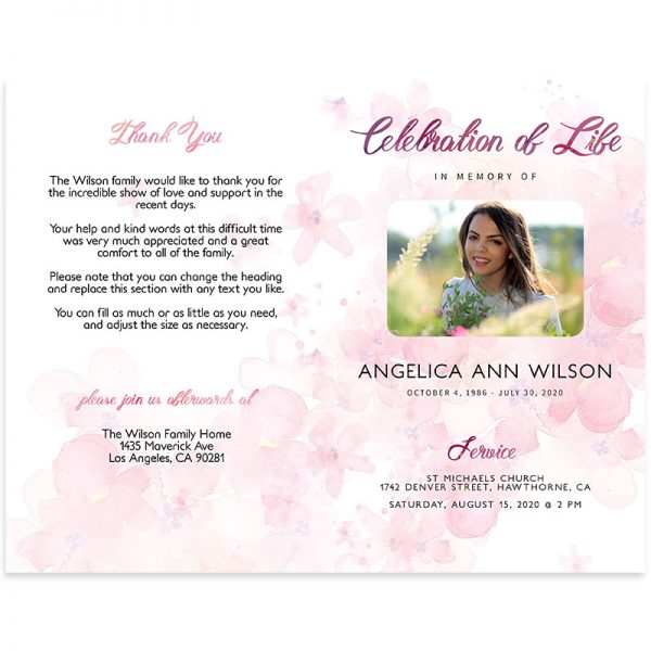 Front and Back - Funeral Program Bifold Template