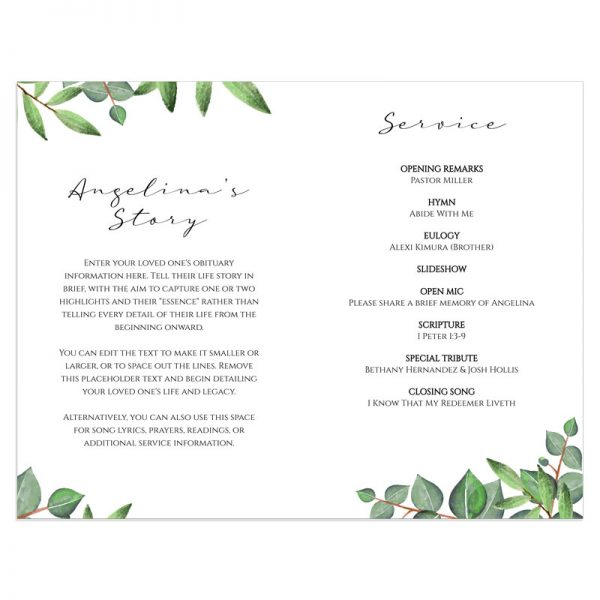 Leafy Green Accents Funeral Programme