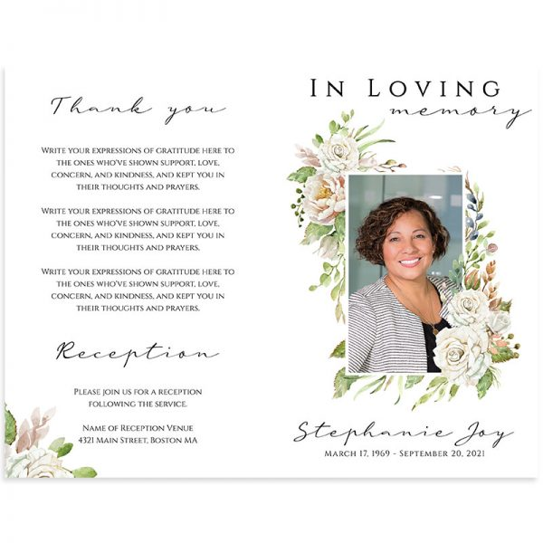 Side One (front and back) of the funeral template