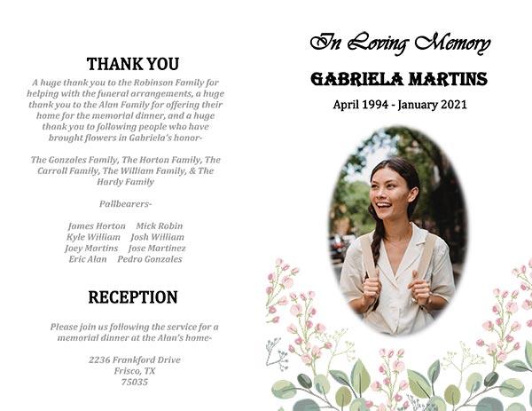 Sample Template- Free Funeral Program Templates (Gabriela Martins)