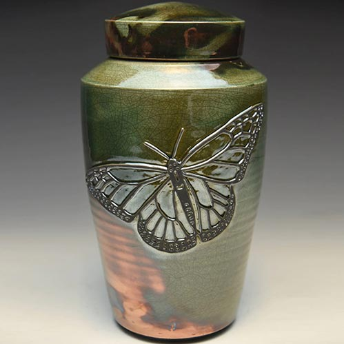 Butterfly Raku Cremation Urn- 50 Beautiful Ceramic Urns