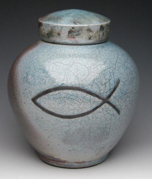Christian Symbol Raku Cremation Urn- 50 Beautiful Ceramic Urns