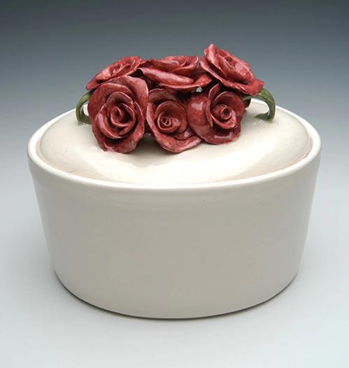 Oval Rose Cremation Urn- 50 Beautiful Ceramic Urns