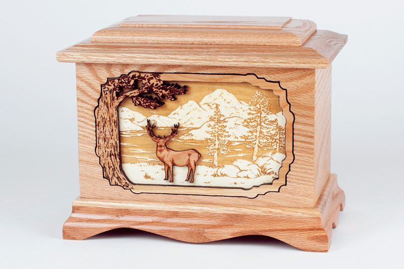 Oak Wood Urn with Inlay Art