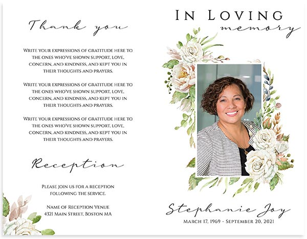 Funeral Program Templates Vintage Floral Frame- Front/Back
